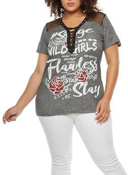 Plus Size Lace Up Fishnet Graphic T Shirt - 1912058750290