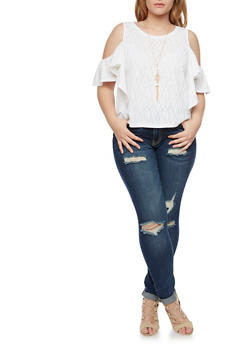 Plus Size Cold Shoulder Top with Flutter Sleeves and Necklace - WHITE - 1912058750327