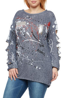 Plus Size Paint Splatter Slasehd Top - 1912058750330