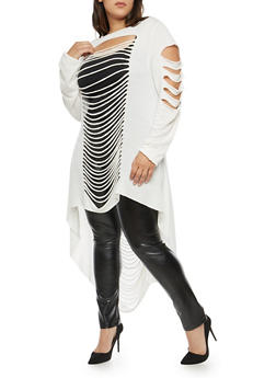 Plus Size Laser Cut High Low Tunic - 1912058750332