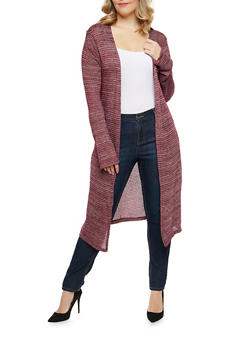 Plus Size Open Front Knit Duster - 1912058750448