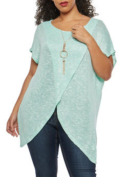 Plus Size Asymmetrical Top with Necklace - 1912058750453
