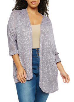 Plus Size Marled Knit Open Front Cardigan - 1912058750455