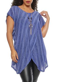 Plus Size Two Tone Knit Asymmetrical Top - 1912058750458