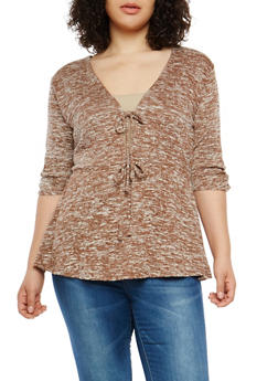 Plus Size Marled Tie Keyhole Top - 1912058750460