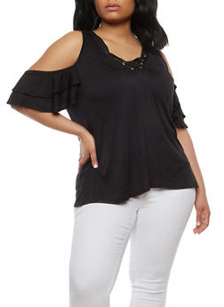 Plus Size Tiered Sleeve Cold Shoulder Top - BLACK - 1912058750463