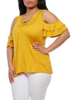 Plus Size Tiered Sleeve Cold Shoulder Top - MUSTARD - 1912058750463