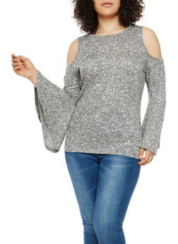 Plus Size Marled Cold Shoulder Bell Sleeve Top - 1912058750484