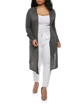 Plus Size Open Front Cardigan - 1912058750489