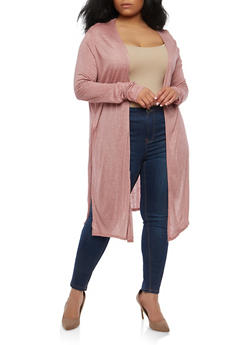 Plus Size Open Front Cardigan - 1912058750489