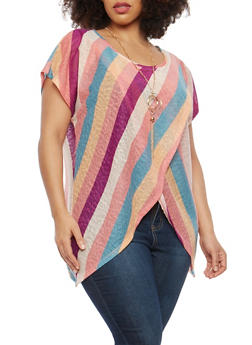Plus Size Asymmetrical Striped Top with Necklace - 1912058750574