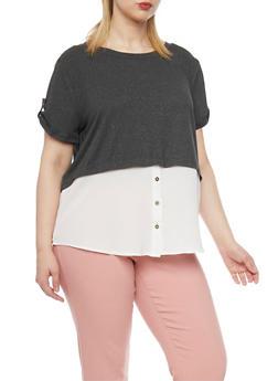 Plus Size Two Tone Short Sleeve Shirt Blouse - 1912058751143