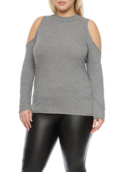 Plus Size Cold Shoulder Top with Long Sleeves - 1912058751553