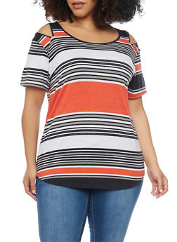 Plus Size Striped Top with Zip Cold Shoulder - 1912058751556