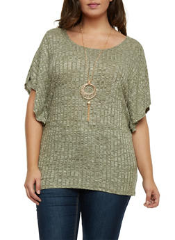 Plus Size Dolman Sleeve Top with Necklace - 1912058751645