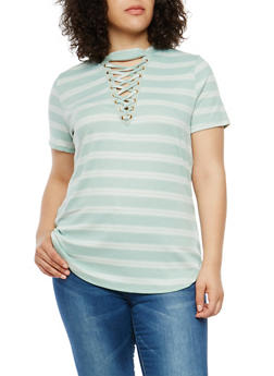 Plus Size Rib Knit Striped Lace Up Keyhole Top - 1912058751749
