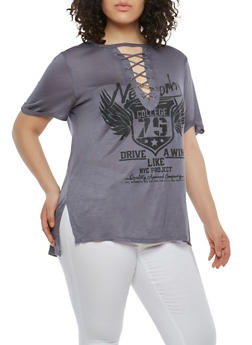 Plus Size Lace Up Graphic Top - GRAY - 1912058752001
