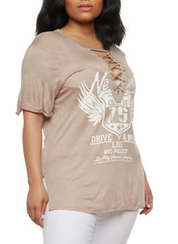 Plus Size Lace Up Graphic Top - MOCHA - 1912058752001