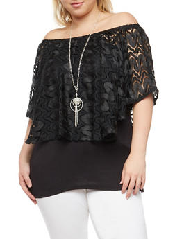 Plus Size Lace Overlay Off the Shoulder Top - 1912058752003
