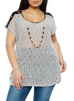 Plus Size Button Detail Popcorn Knit Top with Necklace - 1912058752017