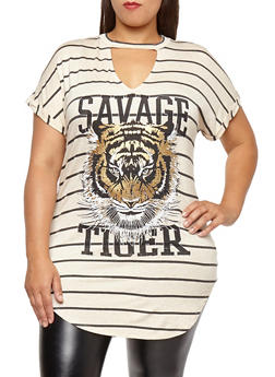 Plus Size Tiger Graphic Striped Tunic Top - 1912058752019