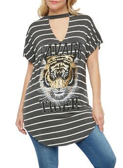 Plus Size Tiger Graphic Striped Tunic Top - 1912058752019
