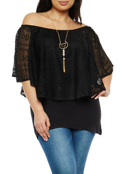 Plus Size Off the Shoulder Crochet Lace Overlay Top - 1912058752027