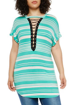 Plus Size Striped Lace Up Tunic Top - 1912058752068
