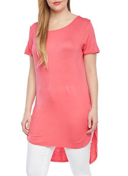 Plus Size High Low Tunic Top,CORAL,medium
