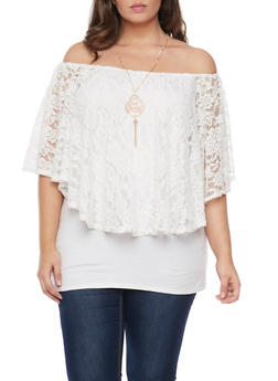 Plus Size Off the Shoulder Top with Lace Overlay and Necklace - 1912058754176