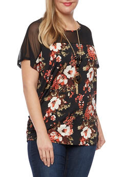 Plus Size Floral Top with Mesh Panel and Necklace - 1912058754351