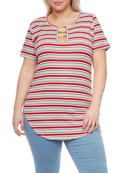 Plus Size Striped Tunic with Metal Keyhole Detail - 1912058754841
