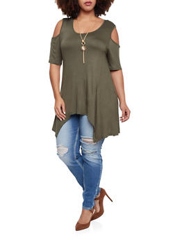 Plus Size Cold Shoulder Tunic Top with Necklace - OLIVE - 1912058755195