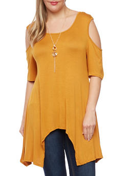 Plus Size Cold Shoulder Tunic Top with Necklace - MUSTARD - 1912058755195
