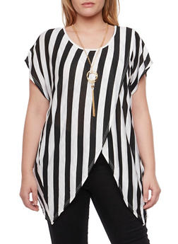 Plus Size Striped Top with Tulip Hem and Necklace - BLACK - 1912058755603