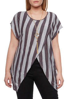 Plus Size Striped Top with Tulip Hem and Necklace - 1912058755603