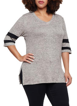 Plus Size Knit Tunic Top with Striped Sleeves - 1912058755716
