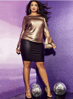 Plus Size Metallic Bell Sleeve Top - 1912058755760