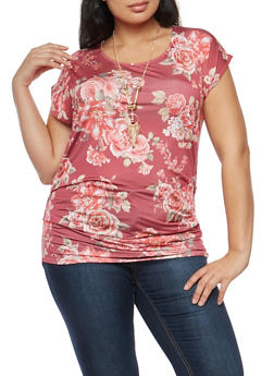 Plus Size Floral Ruched Side Top with Necklace - 1912058755804