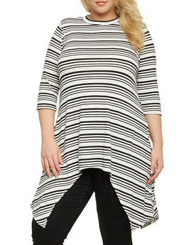 Plus Size Striped Top with Asymmetrical Hem - 1912058756011