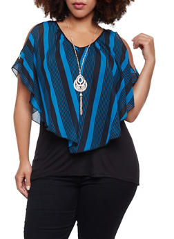 Plus Size Top with Striped Overlay and Necklace - 1912058756130