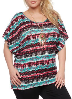 Plus Size Printed Top with Necklace and Ruched Sides - 1912058756149