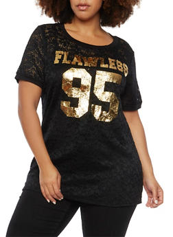 Plus Size Lace Graphic Tee with Flawless Print - 1912058756217