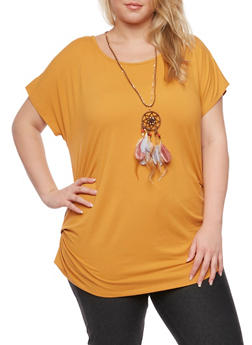 Plus Size Ruched Top with Necklace - MUSTARD - 1912058756226