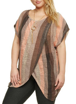 Plus Size Striped Cold Shoulder Top with Necklace - 1912058756259
