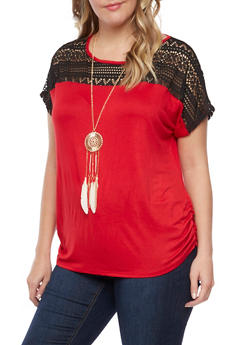 Plus Size Top with Crochet Trim and Necklace - 1912058756260