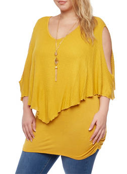 Plus Size Cold Shoulder Flutter Overlay Top with Necklace - MUSTARD - 1912058756306