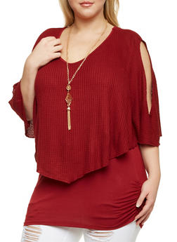 Plus Size Cold Shoulder Flutter Overlay Top with Necklace - BURGUNDY - 1912058756306