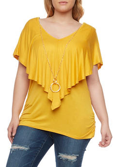 Plus Size Flutter Overlay Top - 1912058756437
