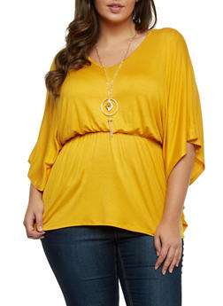 Plus Size Smocked Waist Top with Pendant Necklace - MUSTARD - 1912058756444